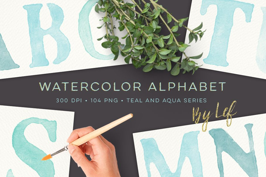 Watercolor Alphabet Graphics Clipart in Objects - product preview 8