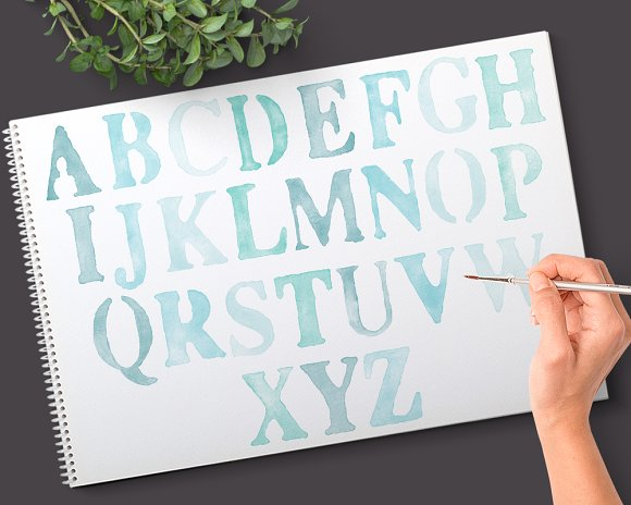 Watercolor Alphabet Graphics Clipart in Objects - product preview 1