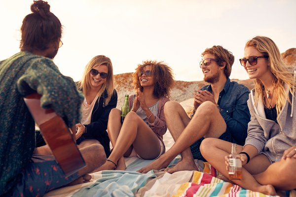 Group of people listening to friend