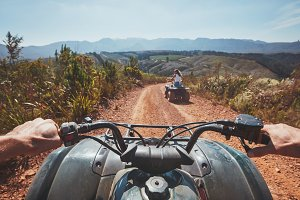 View from a quad bike in nature