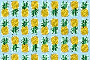 Fruits set. Pineapple and banana.