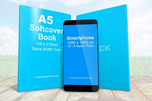 Smartphone With A5 Book Combo Mockup