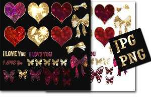 Set of Shiny hearts stickers