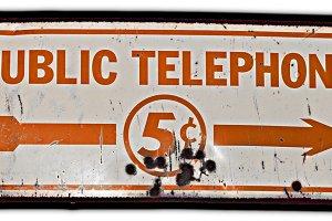 Vintage Public Telephone Sign