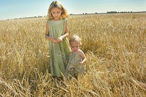 Girls in Oat Field
