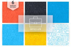 Office Life Line Seamless Patterns