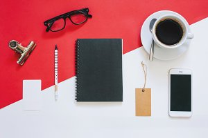 Workspace desk flat lay styled