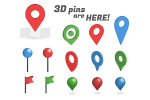 Vector 3D pins isometric collection