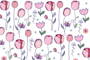 set of drawings with flowers tulips