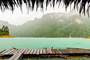 Raining front hut