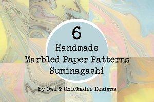 6 Handmade Marbled Paper Suminagashi