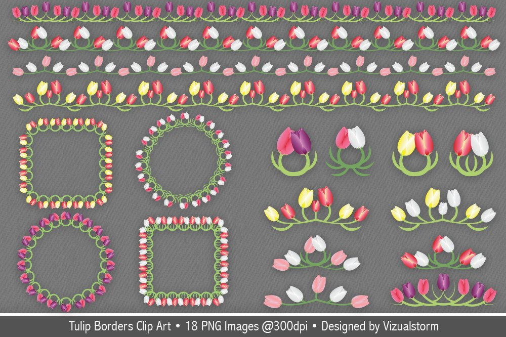Tulip Borders and Frames Clip Art ~ Illustrations ...Tulips Page Borders Clipart Free