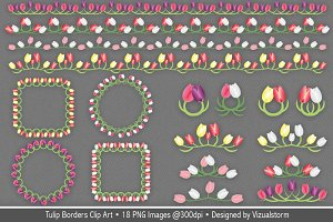 Tulip Borders and Frames Clip Art