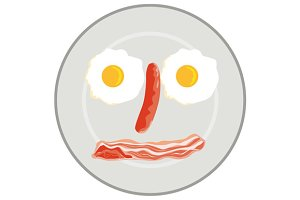 Egg Sausage Bacon Face Retro