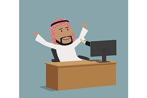 Happy arabian businessman