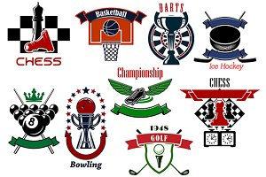 Sport game emblems and symbols