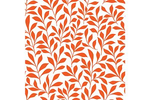 Seamless orange wild herbs pattern