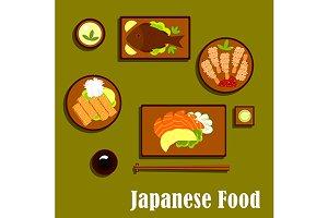 Japanese cuisine flat icons