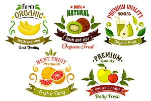 Healthy fresh fruits symbols,  signs