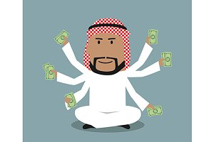 Arabian businessman with many hands