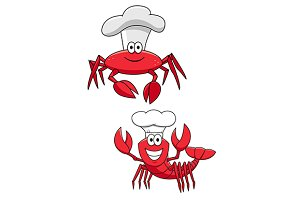 Cartoon funny crustacean chefs