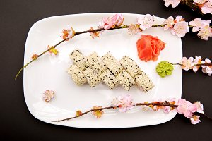 Japanese food - sushi and sakura