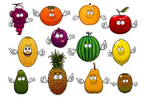 Happy ripe and fresh cartoon fruits