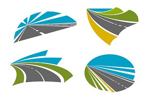 Colorful speedy highway roads