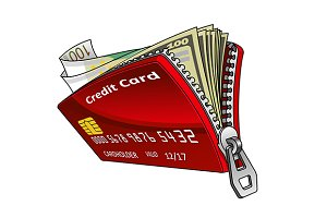 Cedit card as wallet with money