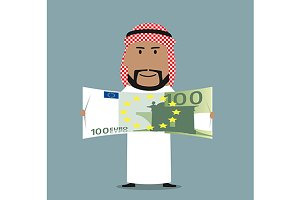 Arab with one hundred euro bill