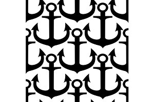 Marine anchors seamless pattern