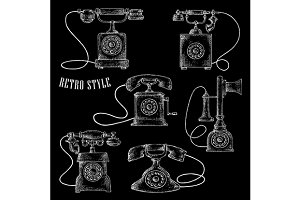 Chalk rotary dial telephones sketch