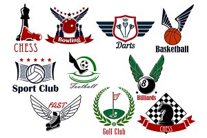 Sport game retro emblems