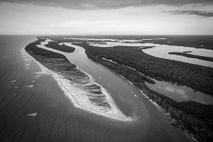 [Aerial] Keewaydin Island (B&W)