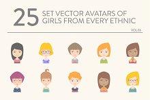 25 vector avatars of girls vol.06
