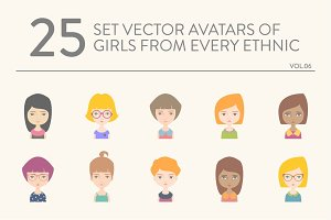 25 vector avatars of girls vol.06