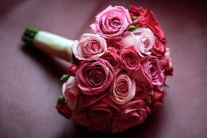Wedding flowers. Pink and red roses.