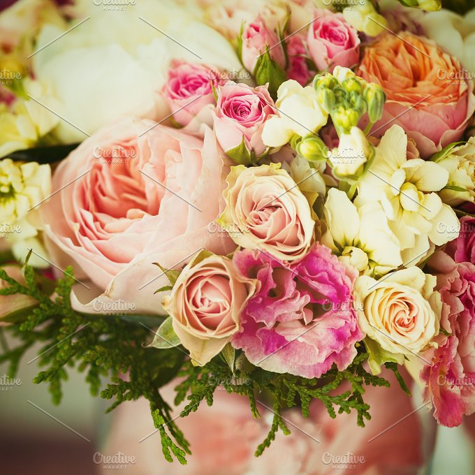 Wedding Flowers. Gentle Bouquet. - Nature