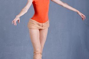 Ballerina rehearsing dance. Tiptoe.