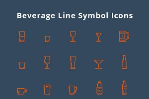 70 Beverage and Food Line Icons