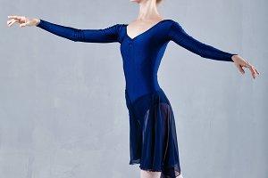Slim ballerina dancing.