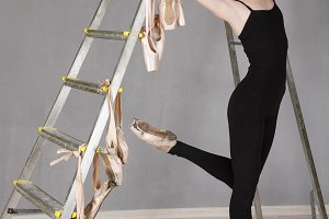 Ballet. Performance. Slim ballerina