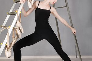 Slim ballerina. Stretching.