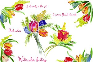 Watercolor fantasy. Tulips clipart.