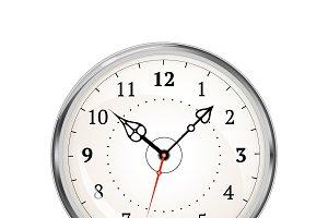 Realistic metal glossy clock