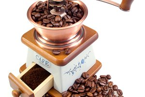 Ancient white coffee grinder