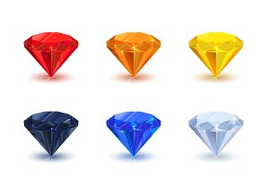 Set of nine bright shiny gemstone