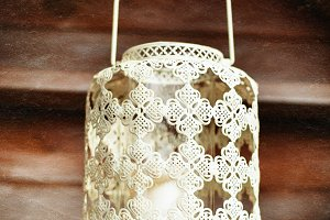 Old-fashioned lacy white lantern