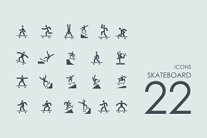 22 Skateboard icons