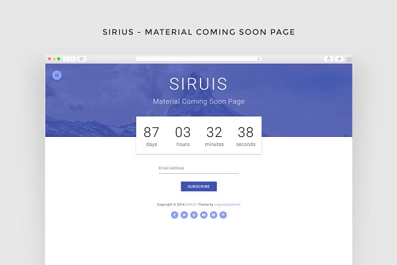 sirius material coming soon page html css themes creative market